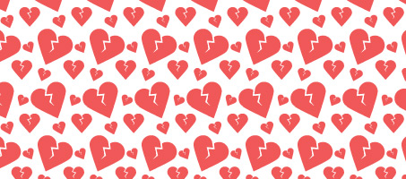 Broken heart seamless vector pattern set