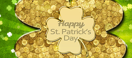 Gold Coins Lucky Clover Wallpaper for Saint Patrick's Day