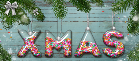 Candy Christmas Glass Ball Text